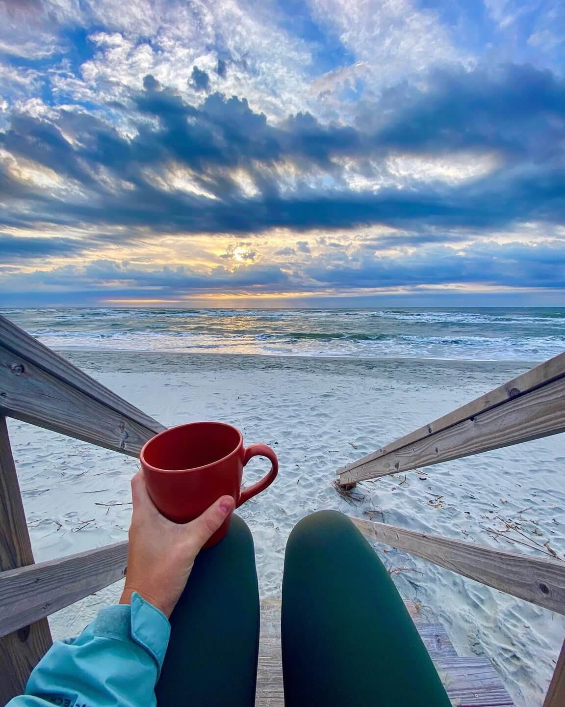 Enjoy a cup of coffee while watching the glorious sunrise over the ocean. (Photo credit: @_lauraet)