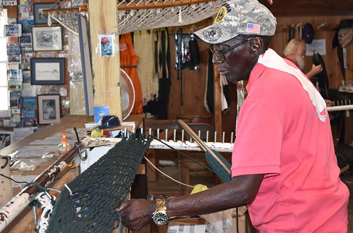 Marvin Grant weaves another hammock at The Original Hammock Shop in Pawleys Island.