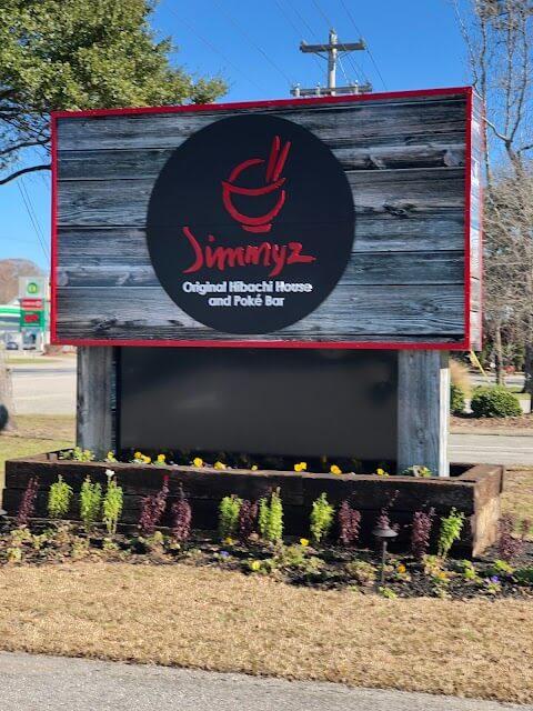 Front sign of Jimmyz Hibachi